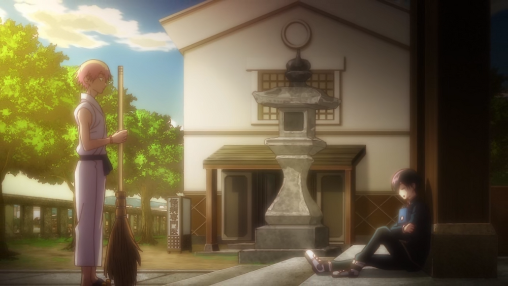 Kuro is asleep while Dr. Ramune sees him on the temple steps