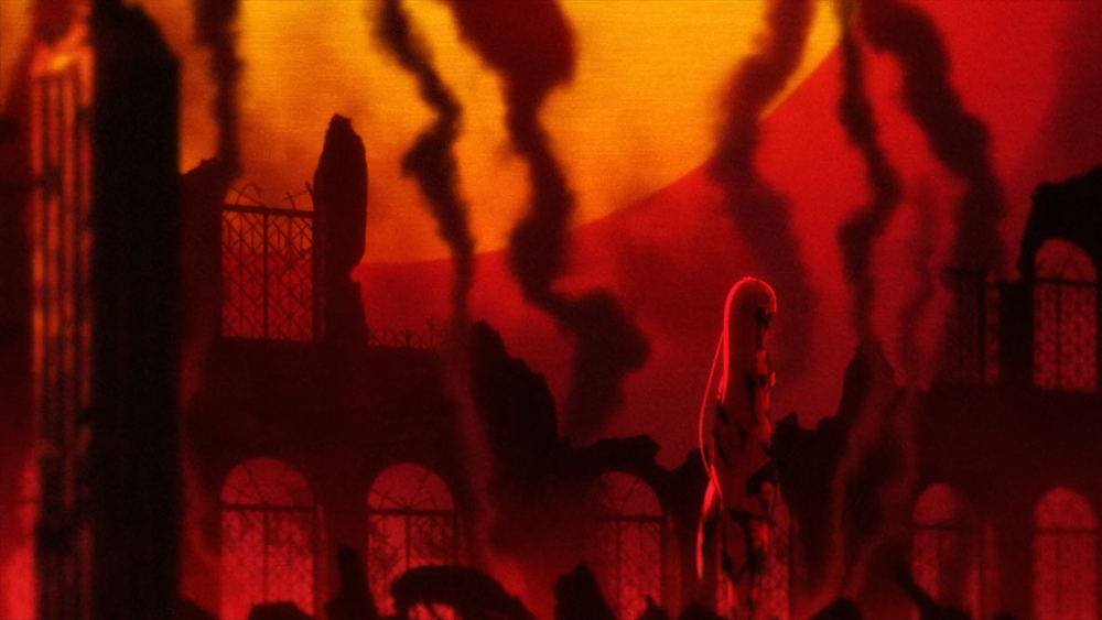 Emilia stands in the ruins of a mansion, the sky red with flames and sunset as smoke rises to the sky
