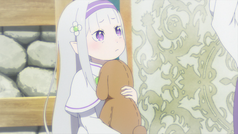 A young Emilia, the white haired girl from Re: Zero - Starting Life in Another World, holding a teddy bear inside a room with stone walls