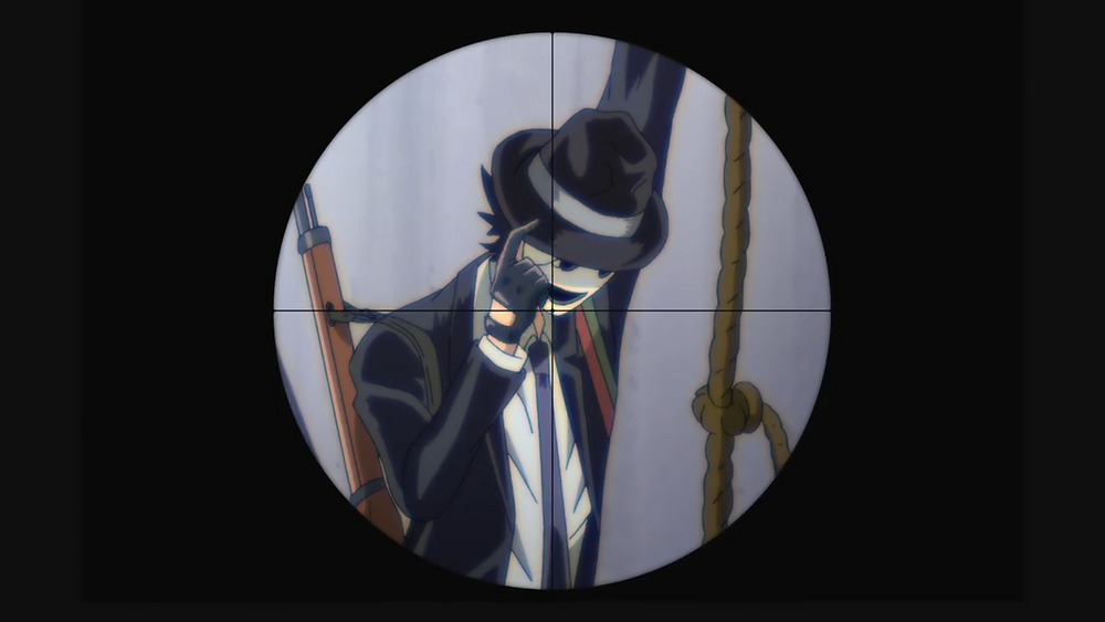 Sniper Mask, the man in a suit, hanging from a rope