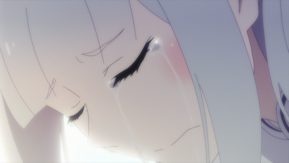 A white haired girl, Emilia, crying