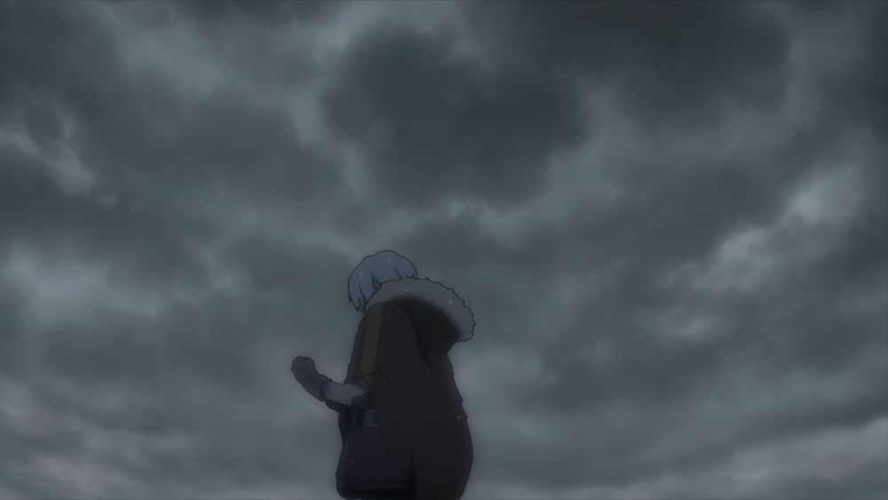 Fushi standing underneath gray skies, still mourning Gugu