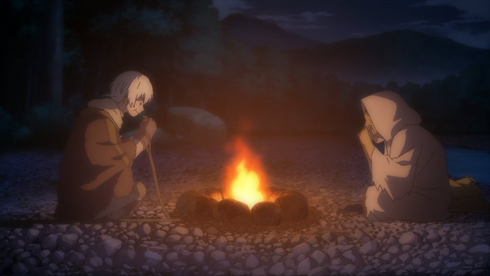 Fushi and Pioran eating fish by a campfire