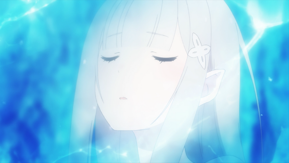 A white haired woman, Emilia from Re: Zero, is stuck in ice