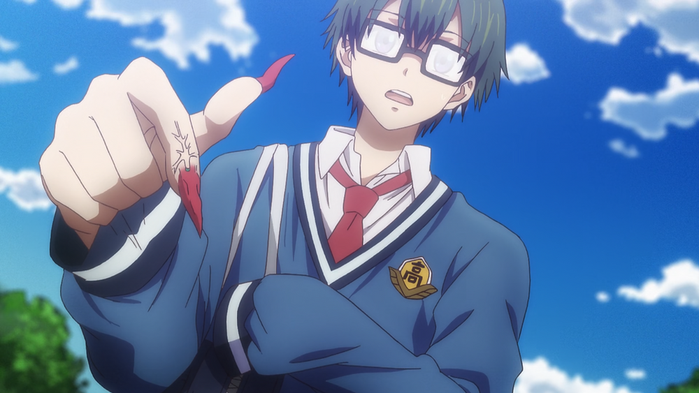 Anime boy, Takaharu from Dr. Ramune: Mysterious Disease Specialist, has chili pepper nails