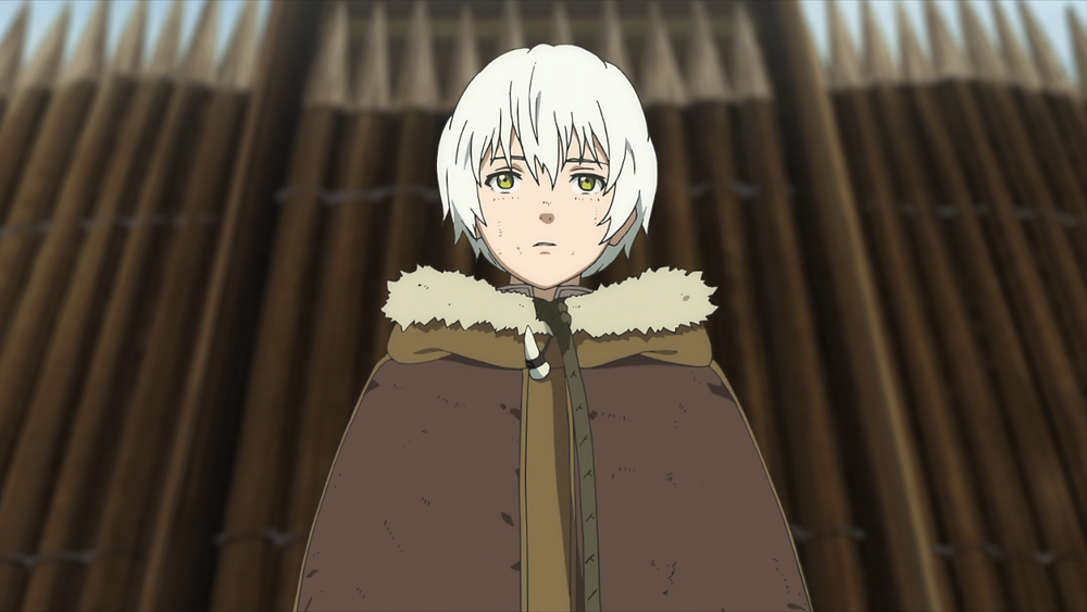 The immortal white haired being standing on a walled space in a deep forest