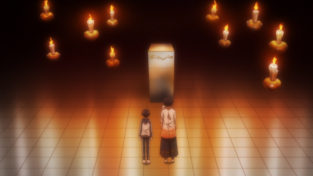 """A man and kid, Kuro and Master Mojiji are standing in a room, with floating candles and a refrigerator with the words """"Entrance""""."""