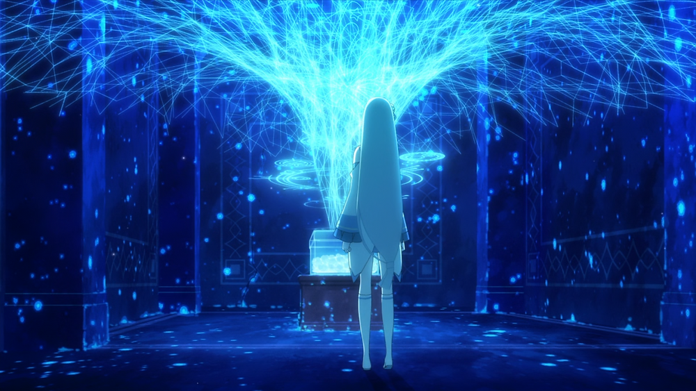 Emilia stands in a room with magic energy sprouting from a grave