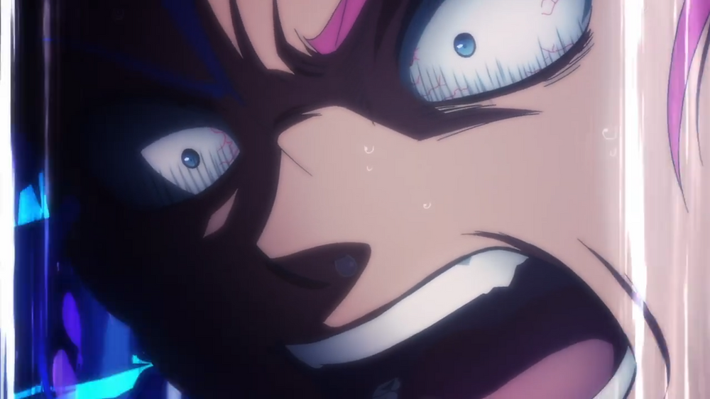 A man named Kengo with magenta hair, screaming in pain