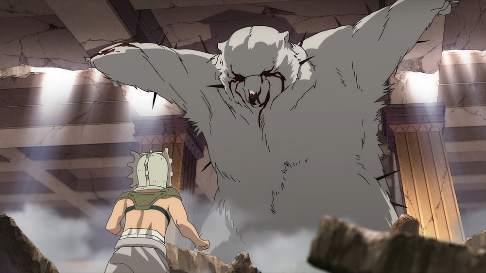 Fushi, in his giant bear form, trying to keep the mansion ceiling from falling on to Rean's parents
