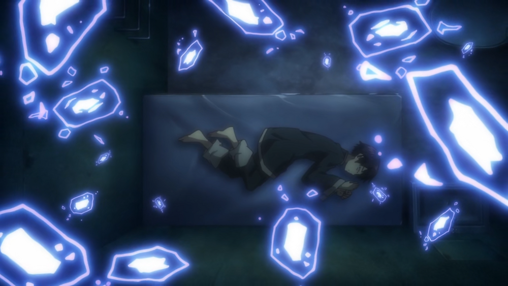 Kuro trying to sleep underground while surrounded by spirits