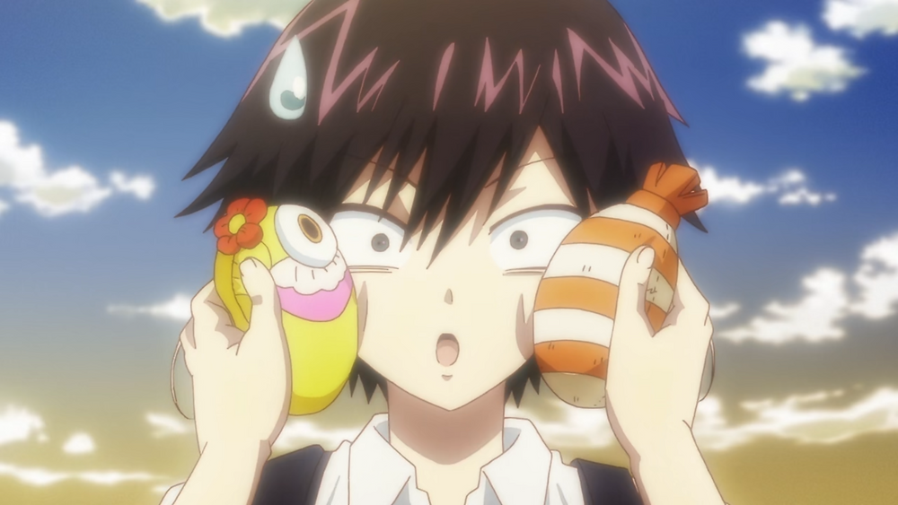 Kuro, Toru, has a realization about what to do with Dr. Ramune thanks to his friend holding plushies to his face
