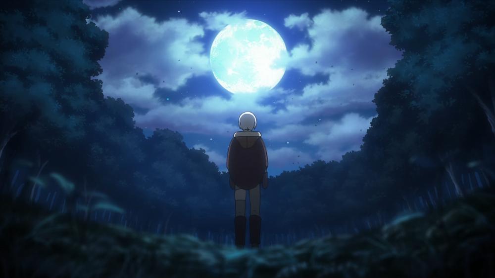 Fushi walking underneath a brightly lit night sky, all alone.