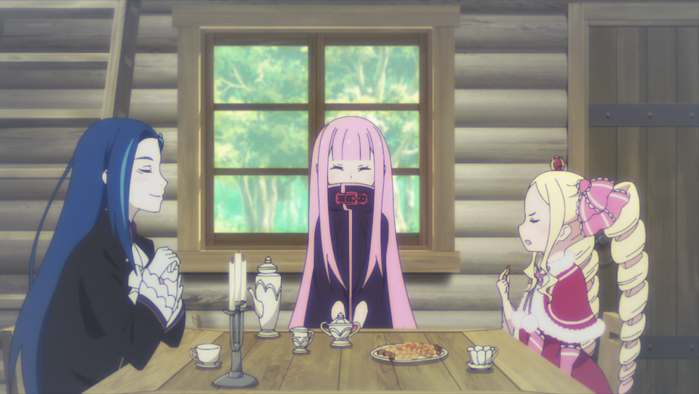 Roswaal, Ryuzu, and Beatrice sitting together and talking inside a cabin in the woods