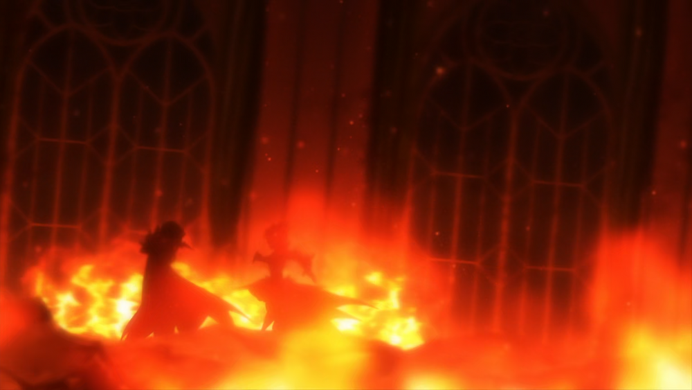 Elsa and Garfiel battling in the burning ruins of the Roswaal Mansion