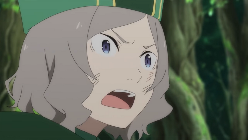 A gray haired character clad in green (Otto Suwen) in a forest, watching in shock.