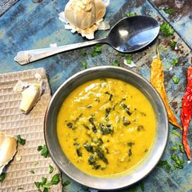 Curry Madras linssoppa med spenat