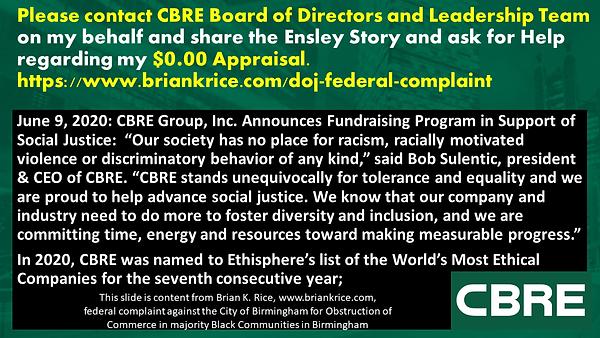 Brian K. Rice, CBRE, Racism, Unfair Appraisal, Bob Sulentic, Barry Harvill, Tim Dismond, E