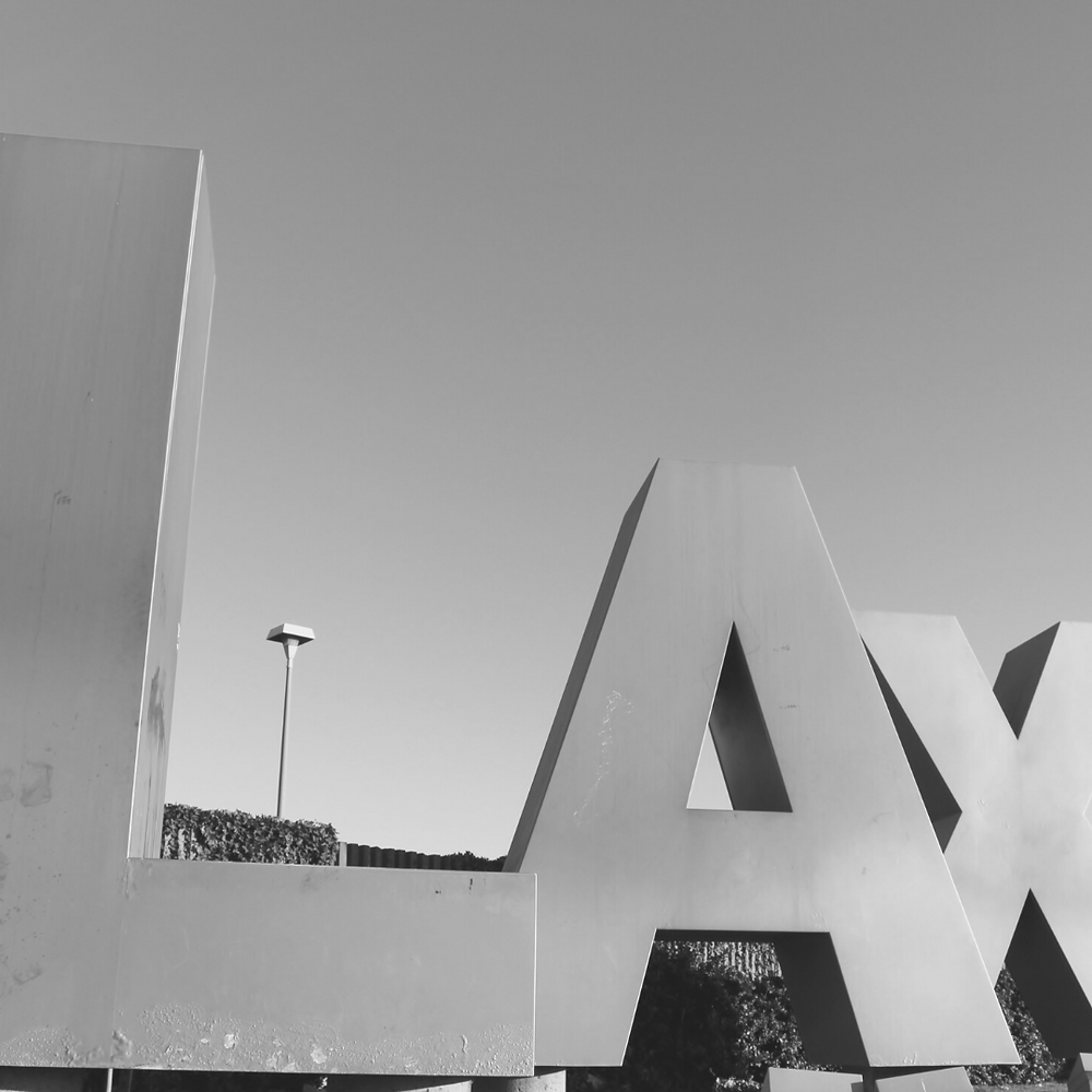 large letters spelling L A X