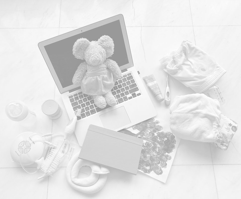 Laptop, teddy bear, breastpump, nappy, diaper, childs painting, nipple cream, nappy cream.