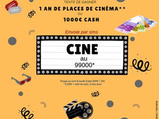 [JEU SMS] 1 an de cinéma ou 1000€ Cash ? !