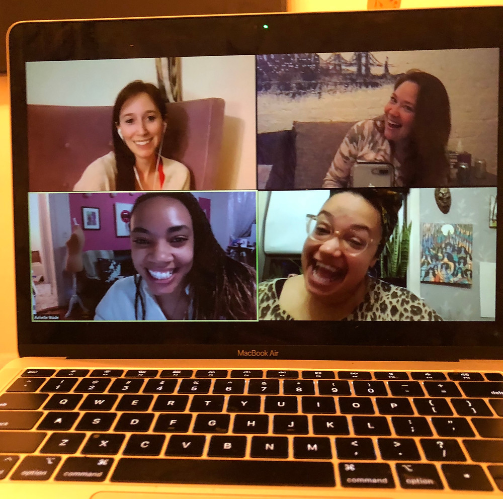 4 women who are on a zoom call during a virtual game night