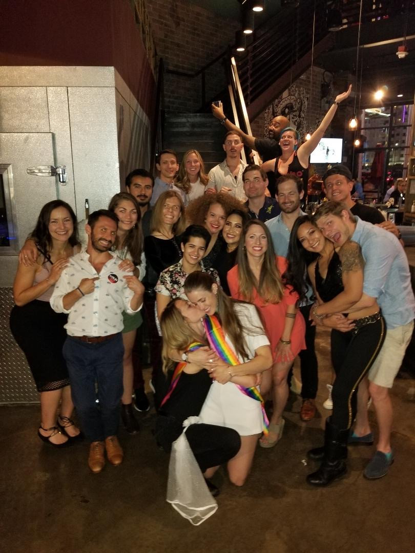 Group of people celebrating the bachelorette party.