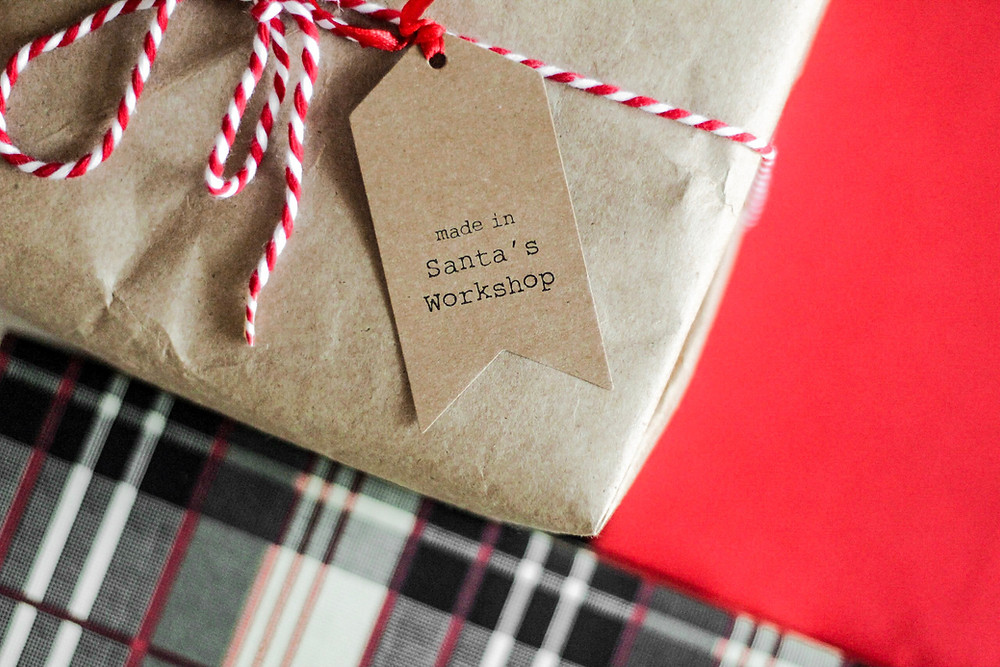 """Package with a note that says """"made in Santa's Workshop"""""""