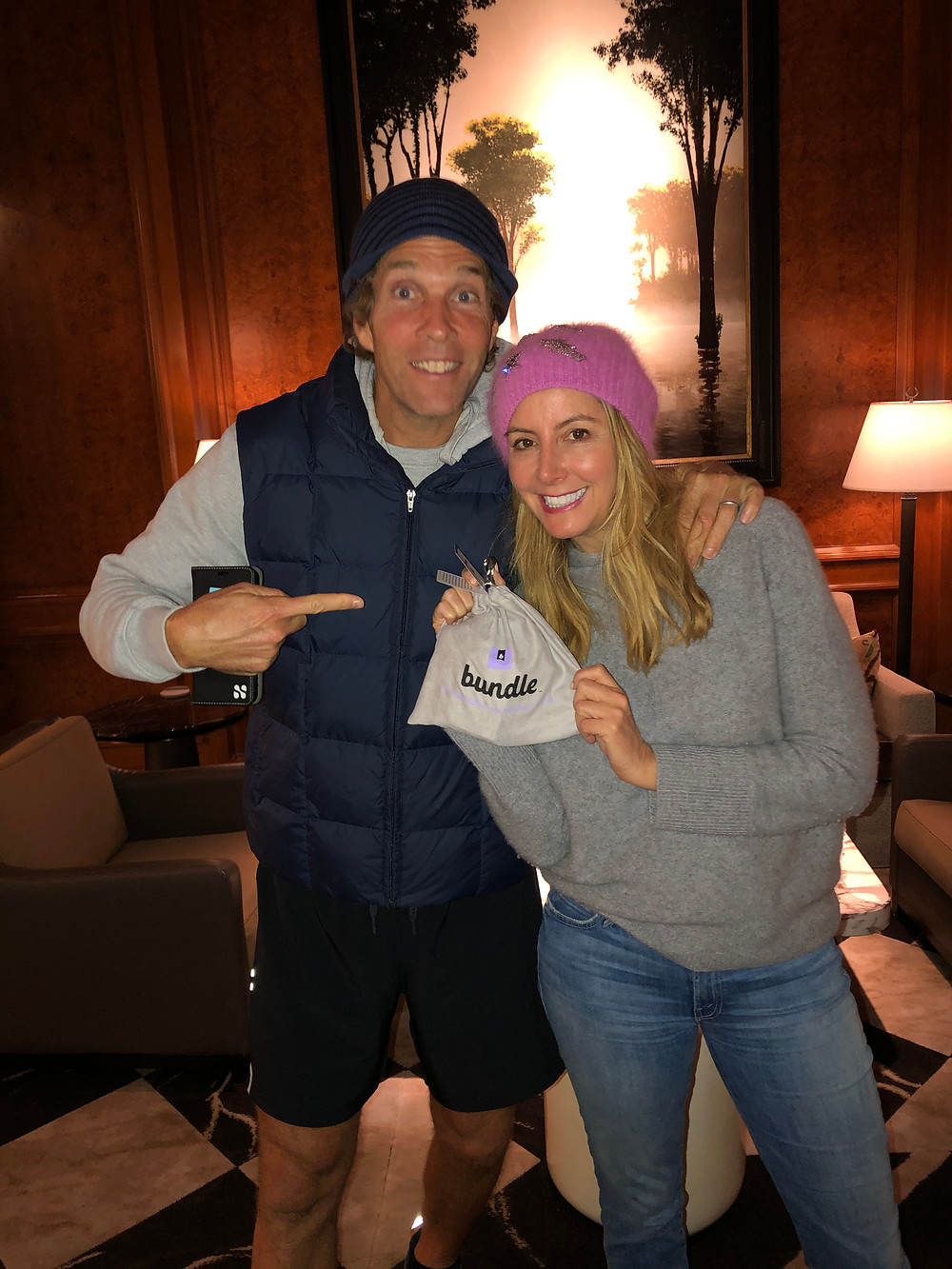 Jesse Itzler and Sara Blakely with their personalized game, Bundle!
