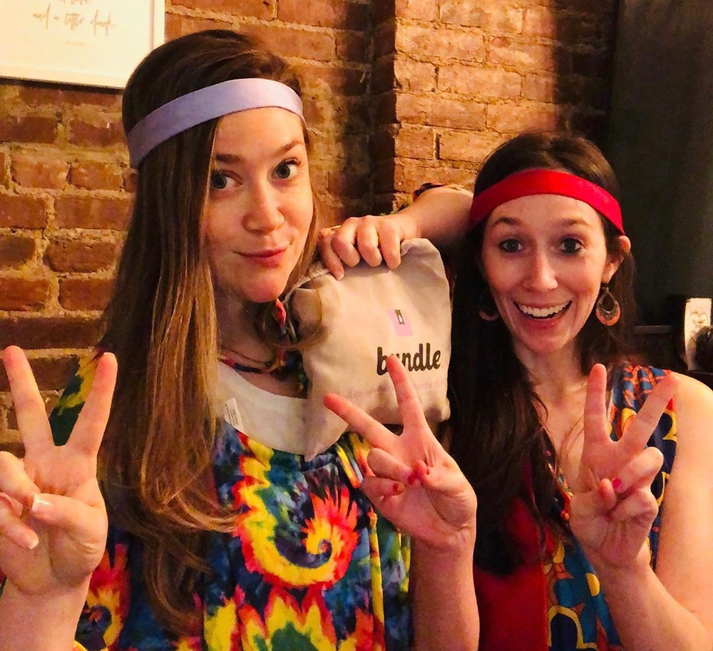 Young women dressed as hippies