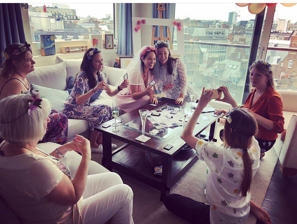 Bride playing a game with her friends.
