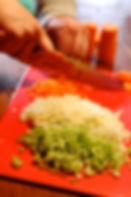 groente brunoise snijden