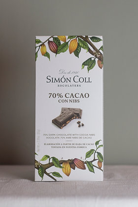 Simón Coll, 70% cacao met cacao nibs, 85 g