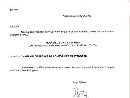 Un nouveau titre de Champion de France de Conformité au Standard !!!