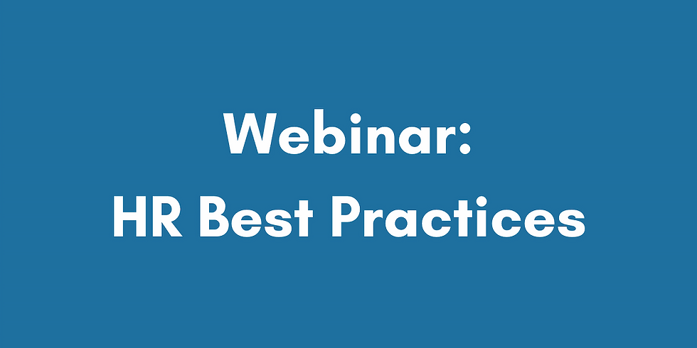 HR Best Practices Webinar