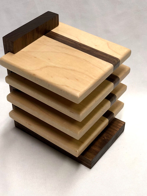 Maple & Walnut Coasters with Stand