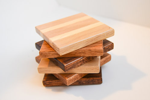 Oak & Maple Coasters with Stand
