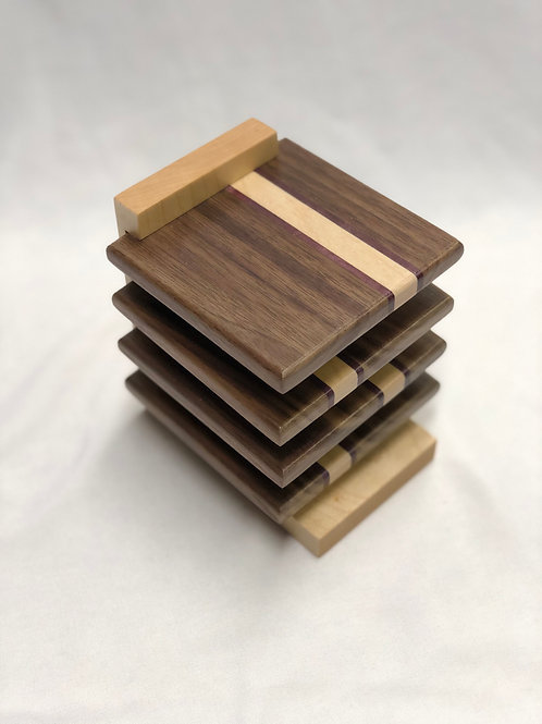Walnut, Maple & Purple Heart Coasters with Stand