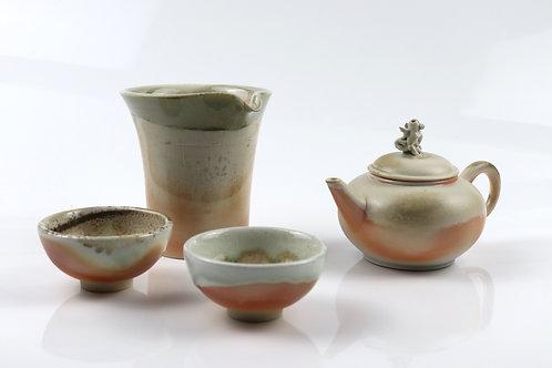 「鯉躍龍門」柴燒瓷壺組