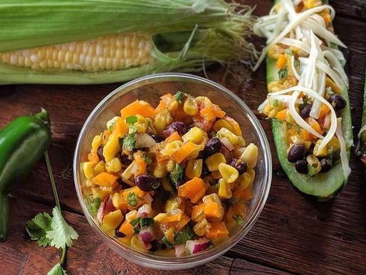 Courgettes farcies à la salsa de maïs