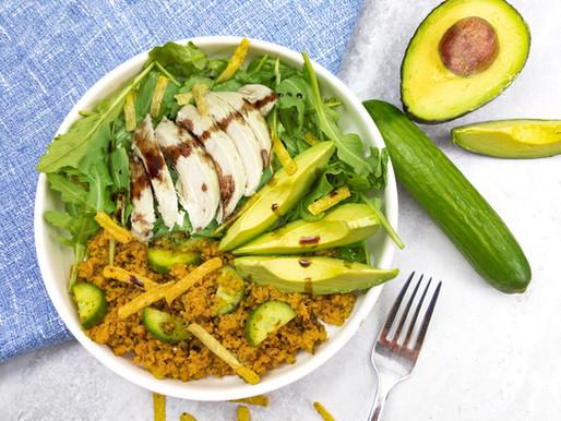 Boulgour et salade tiède au cari rouge