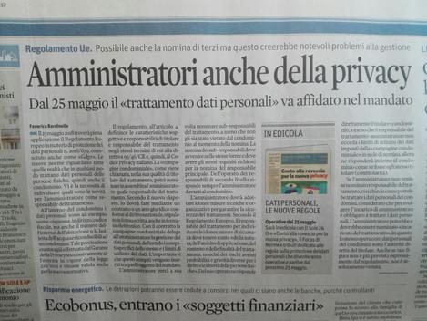 Il Sole 24 Ore: Condominio, Amministratori anche della Privacy