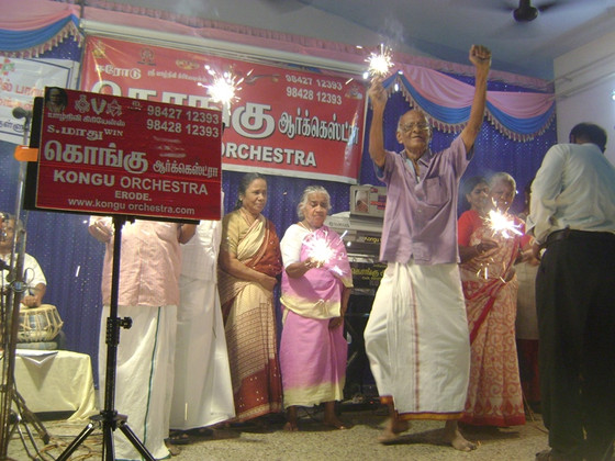 Musical performance of Maadhwin kongu orchestra, Erode, Tamil nadu at the Little Sisters of the Poor