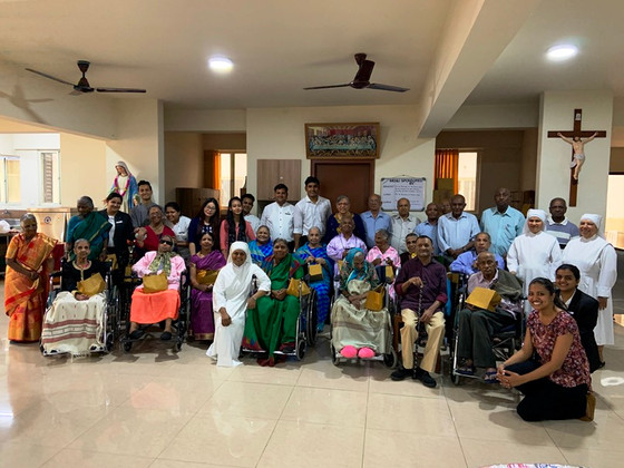 J W Mariott Hotel Staff celebrates the birthdays of the elderly Residents at Little Sisters of the P