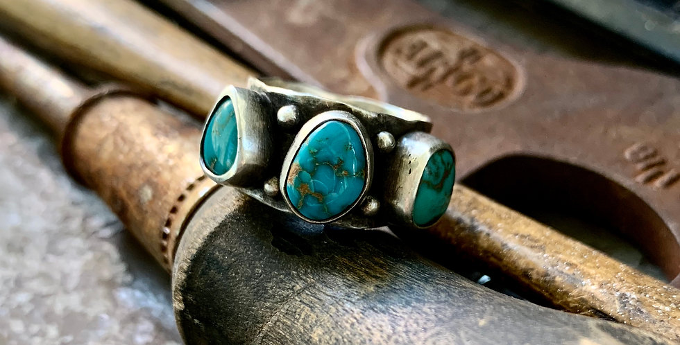 Triple Turquoise Cluster Ring