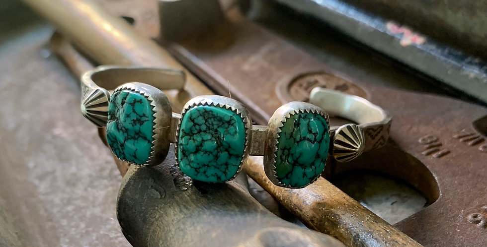 Triple Nugget Turquoise Cuff Bracelet