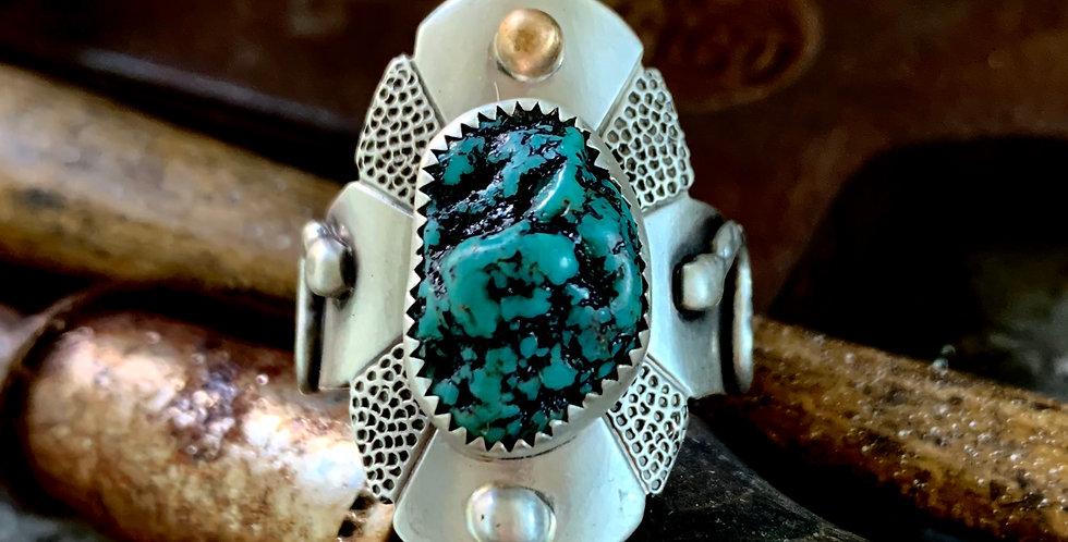 Raw Turquoise Saddle Ring