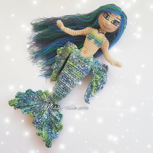 "OOAK 12"" . ""Midnight Moon"" Blue Mermaid . Custom Mermaid. Crochet Mermaid."