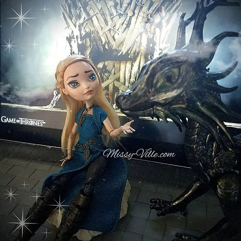 *ooak* Custom Re-paint Daenerys + Dragon Game of Thrones