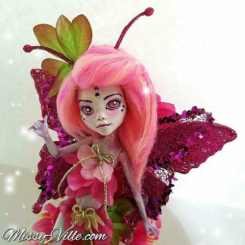 """Ooak ~ Pink """"Love Bug"""" Fairy"""